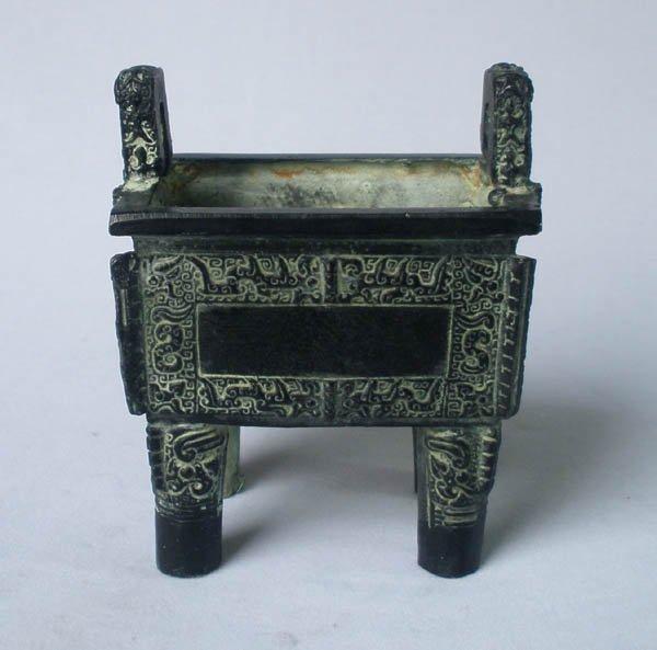 Alloy Bronze Chinese Exquisite Veins Pattern Ding Pot Imitation EZ046