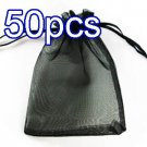 50pcs Black 2.7x3.5inch(7x9cm) Organza Bag Pouch for Gift Jewelry Solid Color