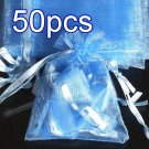 50pcs Baby Blue 2.7x3.5inch(7x9cm) Organza Bag Pouch for Gift Jewelry Solid Color