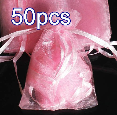 50pcs Baby Pink 2.7x3.5inch(7x9cm) Organza Bag Pouch for Gift Jewelry Solid Color