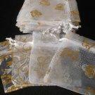 50pcs White 2.7x3.5inch(7x9cm) Organza Bags Pouch for Gift Jewelry Random Design
