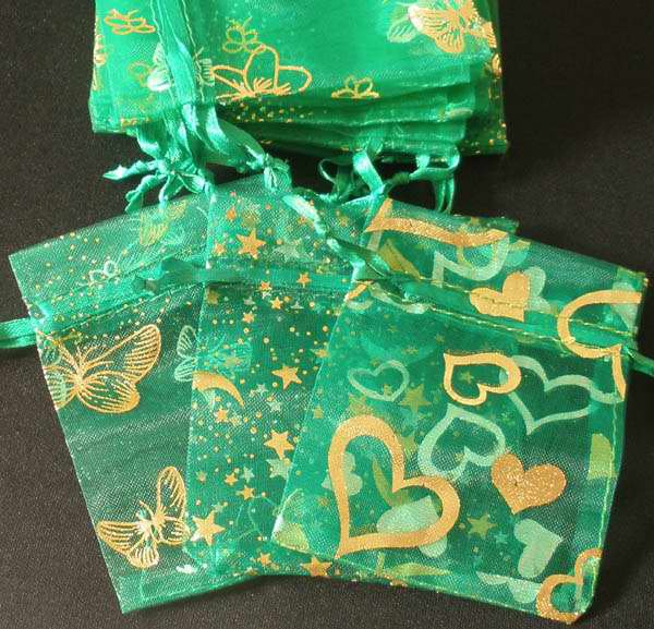 50pcs Green 2.7x3.5inch(7x9cm) Organza Bags Pouch for Gift Jewelry Random Design