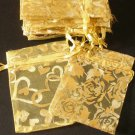 50pcs Golden 2.7x3.5inch(7x9cm) Organza Bags Pouch for Gift Jewelry Random Design