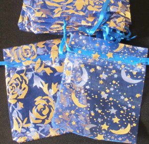 50pcs Royal Blue 2.7x3.5inch(7x9cm) Organza Bags Pouch for Gift Jewelry Random Design