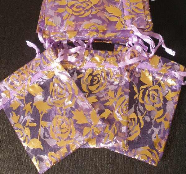 50pcs Purple 2.7x3.5inch(7x9cm) Organza Bags Pouch for Gift Jewelry Random Design