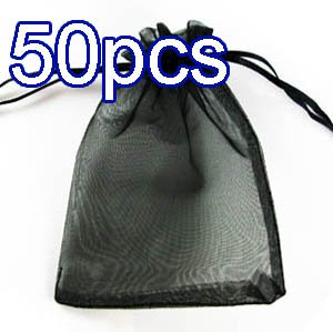 50pcs Black 3.5x4.6inch(9x12cm) Organza Bags Pouch for Gift Jewelry Solid Color