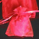 50pcs Red 3.5x4.6inch(9x12cm) Organza Bags Pouch for Gift Jewelry Solid Color