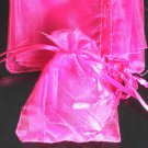 50pcs Hot Pink 3.5x4.6inch(9x12cm) Organza Bags Pouch for Gift Jewelry Solid Color