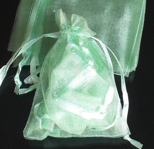 50pcs Mint Light Green 3.5x4.6inch(9x12cm) Organza Bags Pouch for Gift Jewelry Solid Color