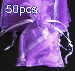 50pcs Lilac Purple 3.5x4.6inch(9x12cm) Organza Bags Pouch for Gift Jewelry Solid Color