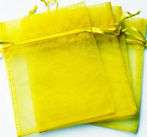 50pcs Yellow 3.5x4.6inch(9x12cm) Organza Bags Pouch for Gift Jewelry Solid Color