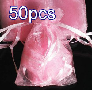 50pcs Baby Pink 4.5x6.5inch(12x17cm) Organza Bags Pouch for Gift Jewelry Solid Color