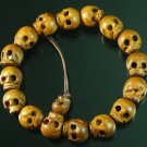 Wholesale 12pcs Natural Wood Skull Beads Buddhist Prayer Mala Bracelet DI74
