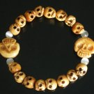 Wholesale 12pcs Tibet & Nepal Yak Bone Hand Carved Skulls Chain Bracelet IZ25