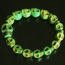 Wholesale 12pcs Cool Light Green Turquoise Skulls Chain Bracelet for Men Women ZZ216