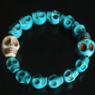 Wholesale 12pcs Cool Blue White Turquoise Skulls Chain Bracelet for Men Women ZZ215