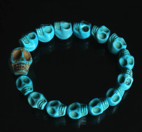 Wholesale 12pcs Cool Blue Turquoise Skulls Chain Bracelet for Men Women ZZ213