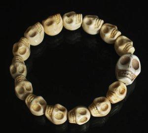 Wholesale 12pcs Cool White Turquoise Skulls Chain Bracelet for Men Women ZZ210