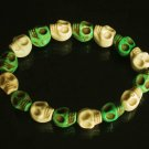 Wholesale 12pcs Cool Light Green White Turquoise Skulls Chain Bracelet for Men Women ZZ207