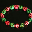 Wholesale 12pcs Cool Hot Pink Light Green Turquoise Skulls Chain Bracelet for Men Women ZZ206