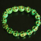 Wholesale 12pcs Cool Light Green Turquoise Skulls Chain Bracelet for Men Women ZZ202