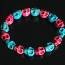 Wholesale 12pcs Cool Rose Red Blue Turquoise Skulls Chain Bracelet for Men Women ZZ201