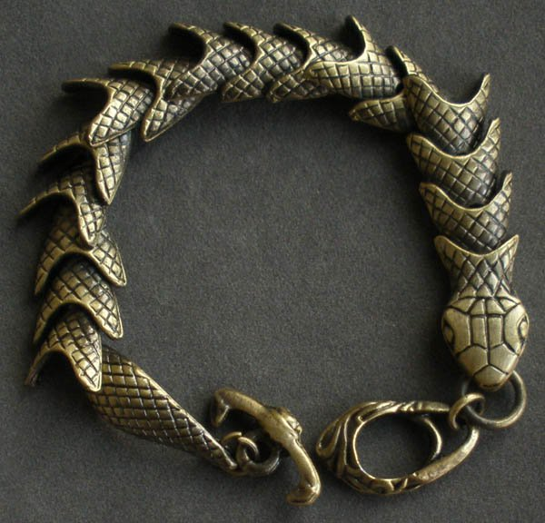 Wholesale 12pcs Alloy Zinic Brass Men's Gift Joint Section Snake Python Boa Anaconda Bracelet