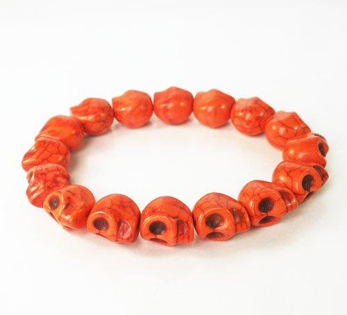 Wholesale 12pcs Red Turquoise Skulls Chain Bracelet for Men Women ZZ223