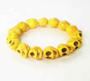 Wholesale 12pcs Yellow Turquoise Skulls Chain Bracelet for Men Women ZZ225