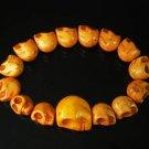 Wholesale 12pcs Orange Turquoise Skulls Chain Bracelet for Men Women ZZ2146