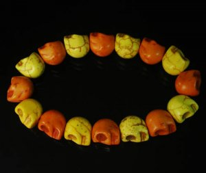 Wholesale 12pcs New Twin Color Turquoise Orange Yellow Skull Bead Beads Stretch Bracelet ZZ2250