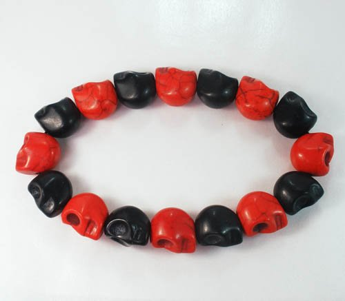 Wholesale 12pcs New Twin Color Turquoise Black Red Skull Bead Beads Stretch Bracelet ZZ2254