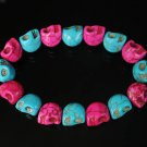 Wholesale 12pcs New Twin Color Turquoise Hot Pink Black Skull Bead Beads Stretch Bracelet ZZ2264