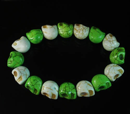 Wholesale 12pcs New Twin Color Turquoise Green White Skull Bead Beads Stretch Bracelet ZZ2270