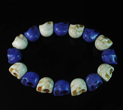 Wholesale 12pcs New Twin Color Turquoise Purple White Skull Bead Beads Stretch Bracelet ZZ2273