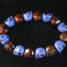 Wholesale 12pcs New Twin Color Turquoise Brown Purple Skull Bead Beads Stretch Bracelet ZZ2286