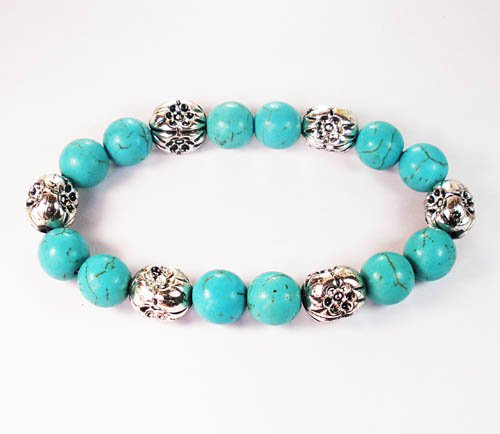 Wholesale 12pcs Silvery Plated Resin Bead Turquoise White Bead Stretch Bracelet ZZ2120