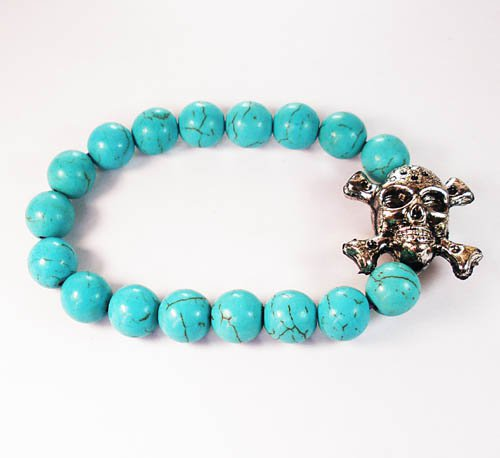Wholesale 12pcs Silvery Plated Resin Bead Turquoise White Bead Stretch Bracelet ZZ2121