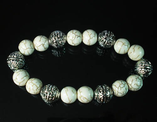Wholesale 12pcs Silvery Plated Resin Bead Turquoise White Bead Stretch Bracelet ZZ2122