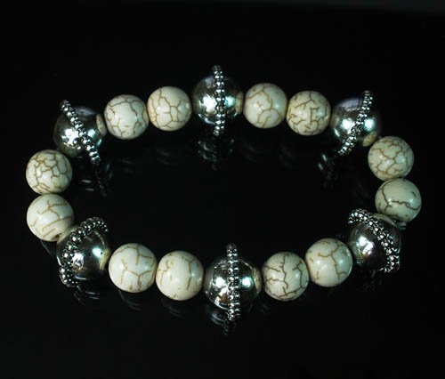 Wholesale 12pcs Silvery Plated Resin Bead Turquoise White Bead Stretch Bracelet ZZ2126