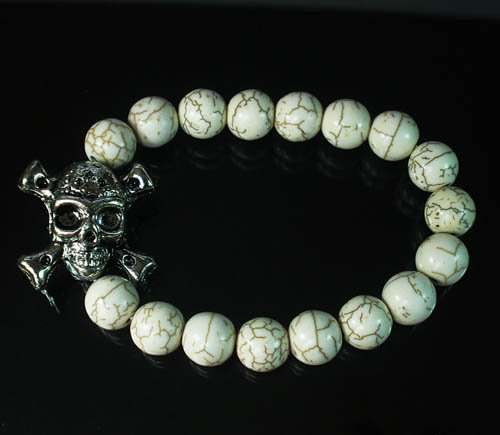 Wholesale 12pcs Silvery Plated Resin Bead Turquoise White Bead Stretch Bracelet ZZ2127