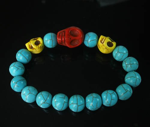 Wholesale 12pcs Turquoise Red Yellow Skull Bead Baby Blue Veins Ball Beads Stretch Bracelet ZZ241