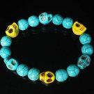 Wholesale 12pcs Turquoise Baby Blue Yellow Skull Beads Baby Blue Veins Ball Stretch Bracelet ZZ261