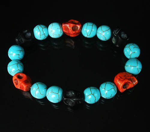 Wholesale 12pcs Turquoise Black Red Skull Beads Baby Blue Veins Ball Beads Stretch Bracelet ZZ267