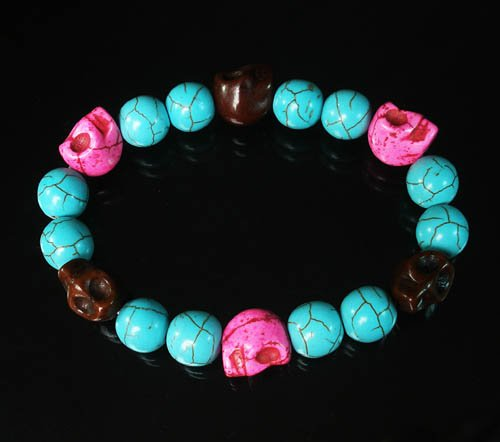 Wholesale 12pcs Turquoise Hot Pink Brown Skull Beads Baby Blue Veins Beads Stretch Bracelet ZZ268