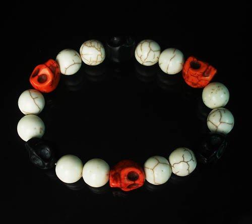 Wholesale 12pcs Turquoise Black Red Skull Beads White Veins Ball Beads Stretch Bracelet ZZ283