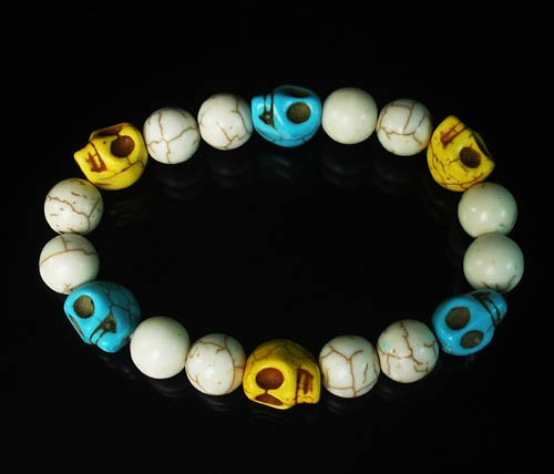 Wholesale 12pcs Turquoise Baby Blue Yellow Skull White Veins Beads Stretch Bracelet ZZ284