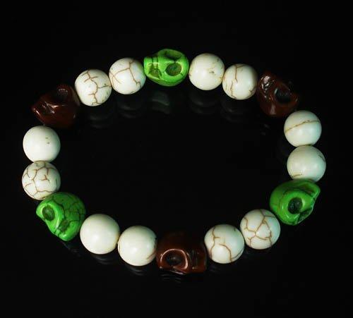 Wholesale 12pcs Turquoise Brown Green Skull Beads White Veins Ball Beads Stretch Bracelet ZZ286