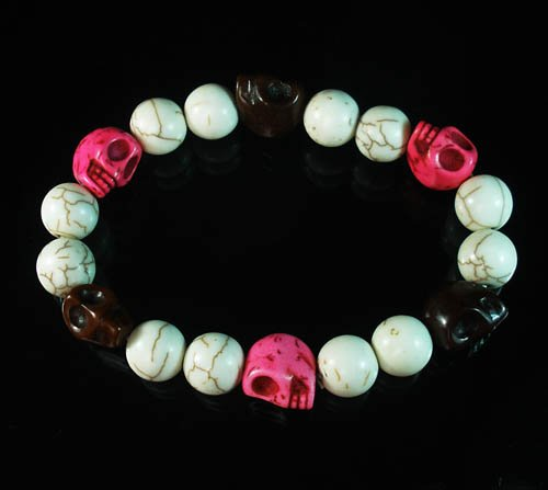 Wholesale 12pcs Turquoise Colorful Hot Pink Brown Skull White Veins Beads Stretch Bracelet ZZ296