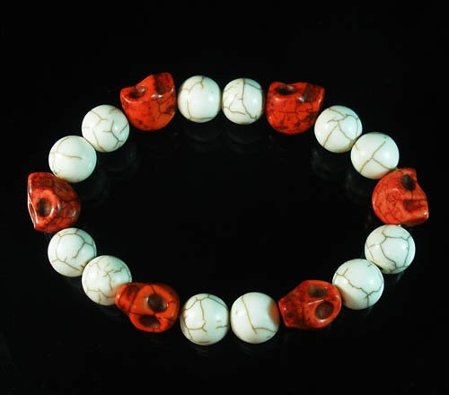 Wholesale 12pcs Turquoise Red Skull White Veins Beads Stretch Bracelet ZZ297
